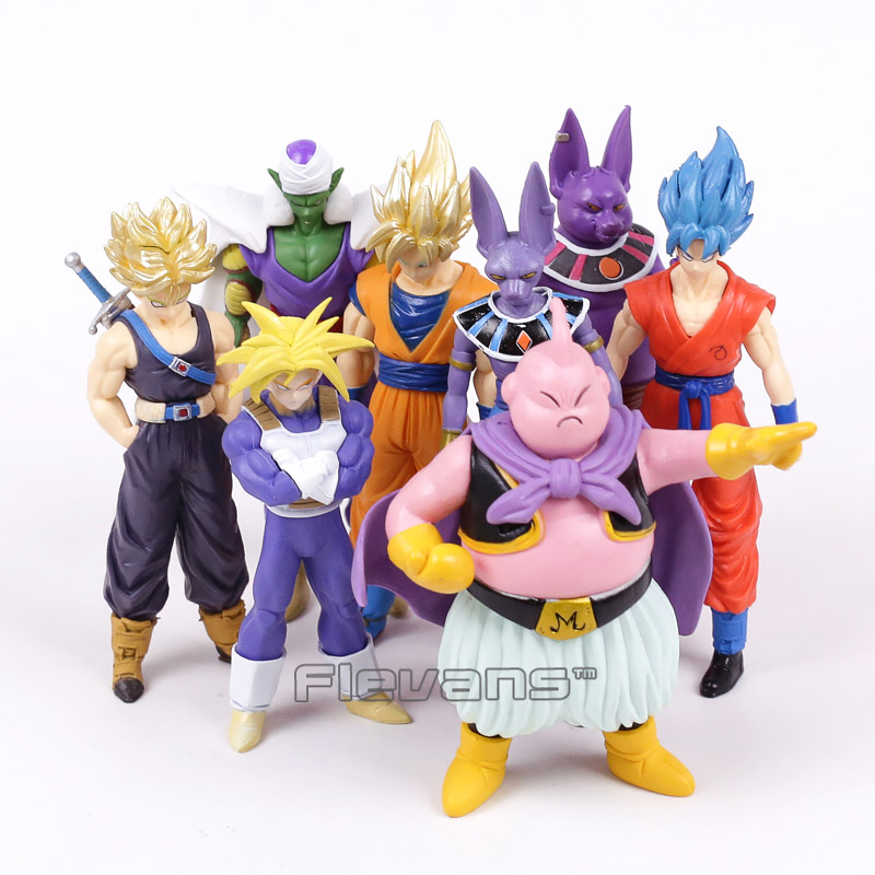где купить Dragon Ball Z Super Saiyan Goku Trunks Champa Beerus Piccolo Majin Buu PVC Figures Collectible Model Toys 8pcs/set 13~16cm по лучшей цене