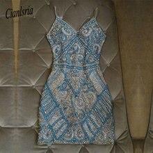 Luksusowe zroszony paski spaghetti Homecoming sukienka frezowanie obcisła sukienka mini Bodycon sukienka koktajlowa