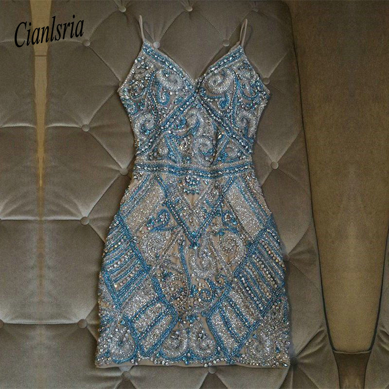 Luxury Beaded Spaghetti Straps Homecoming Dress Beading Mini Sheath Bodycon Cocktail Dress