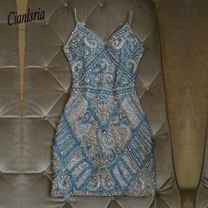 Image 1 - Luxury Beaded Spaghetti Straps Homecoming Dress Beading Mini Sheath Bodycon Cocktail Dress