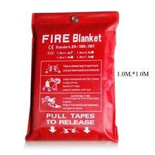 1 м X 1 м противопожарное одеяло из стекловолокна противопожарное средство аварийное спасение белый пожарный приют Защитная крышка в случае пожара, при пожаре одеяло