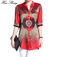 Women Summer Casual Half Sleeve V Neck Print Red Chiffon Blouse Long Shirt 3xl 4xl Plus