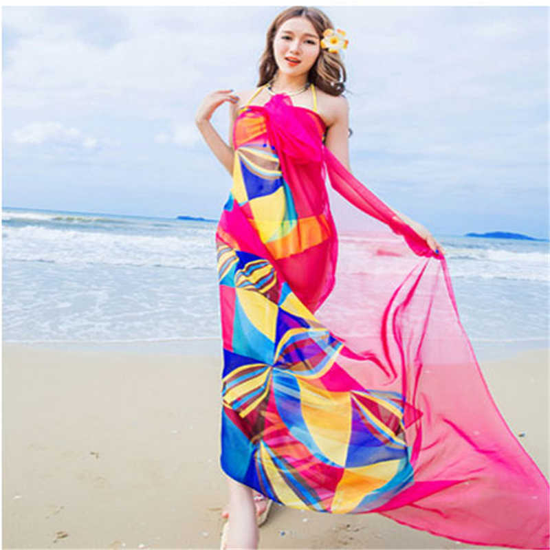 2d9ecb4cc9db2 ... Women Bikini Beach Wear Hot Summer Beach Sarongs Chiffon Scarves  Geometrical Design Swimsuit Cover Up Dress ...