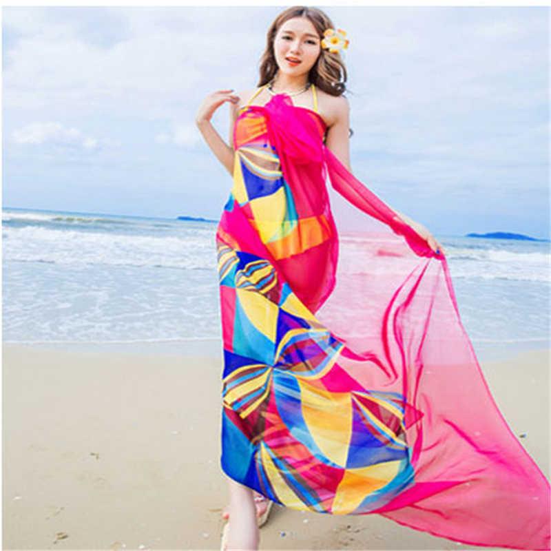 254fcc26bfecc ... Women Bikini Beach Wear Hot Summer Beach Sarongs Chiffon Scarves  Geometrical Design Swimsuit Cover Up Dress ...
