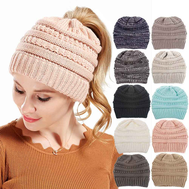 30bdbbbade8e7 Ponytail Beanie Men Women Baggy Warm Crochet Winter Wool Knit Ski Beanie  Skull Slouchy Caps Hat