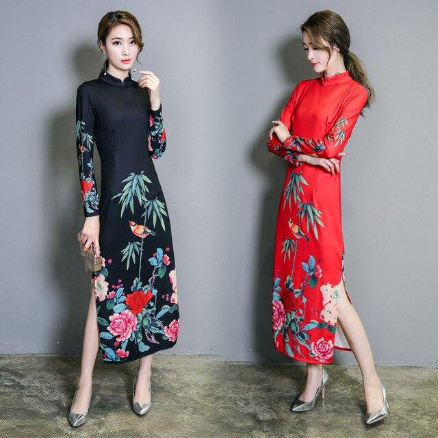 2018 New Arrival Feaday Asymmetrical Print Long Chinese Dress Cheongsam Dress  Regular Natural Mandarin Collar Summer Dresses