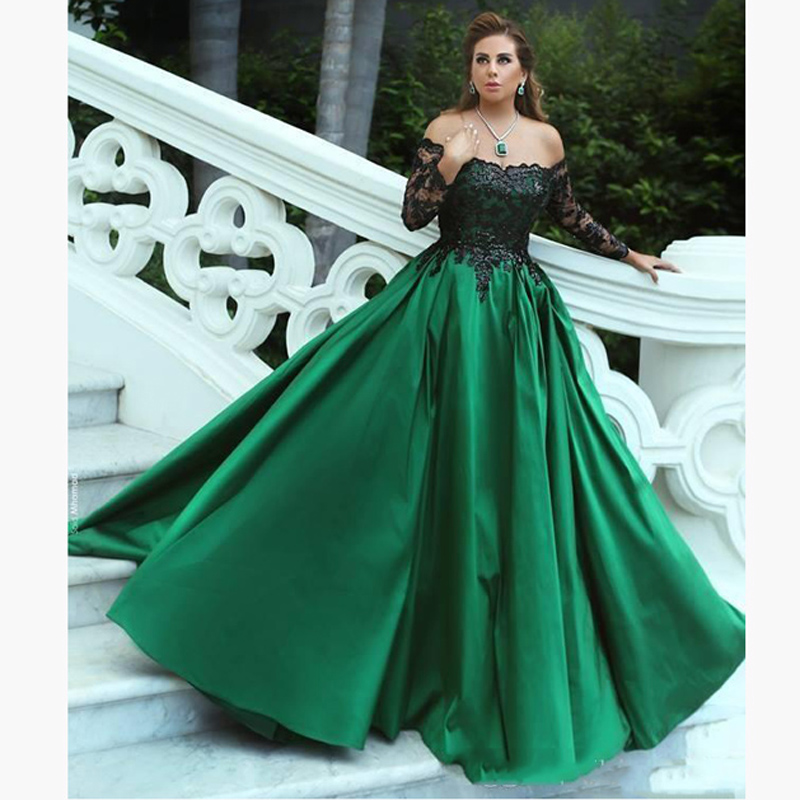 9ef2e8ef1f2 Elegant Green Black Lace Appliques Long Sleeves Puffy Prom Dress Ball Gown  With Petticoat Lady Graduation Maxi Gowns Vestidos -in Prom Dresses from  Weddings ...