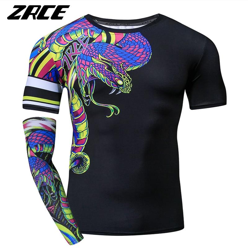 Zrce Funny Tshirt Men 3d Snake Print Compression Shirt Cosplay Custom Workout Streetwear Plus