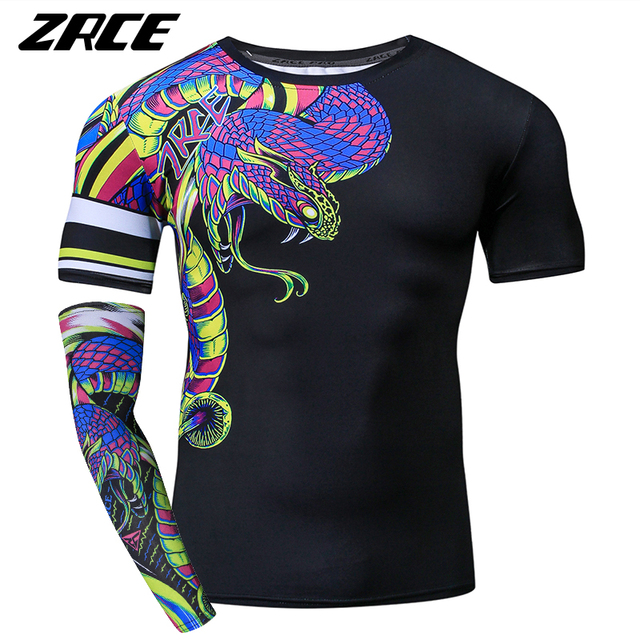 74469f7d ZRCE Funny Tshirt Men 3D Snake Print Compression Shirt Cosplay Custom  Workout Streetwear Plus Size Male Fitness Brand Clothing