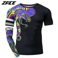 ZRCE Funny Tshirt Men 3D Snake Print Compression Shirt Cosplay Custome Workout Streetwear Plus Size Male