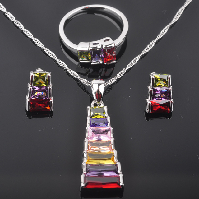 Unusual Multicolor Stone Cubic Zirconia Woman's Silver Jewelry Sets Earrings/Pendant/Necklace/Rings Free Shipping QZ054