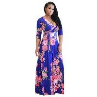 Ilstile 2017 Mulheres V Neck Impressão Floral Do Vintage Big Hem Longo Maxi Vestido Moda Evening Partido Vestido Azul Amarelo Branco