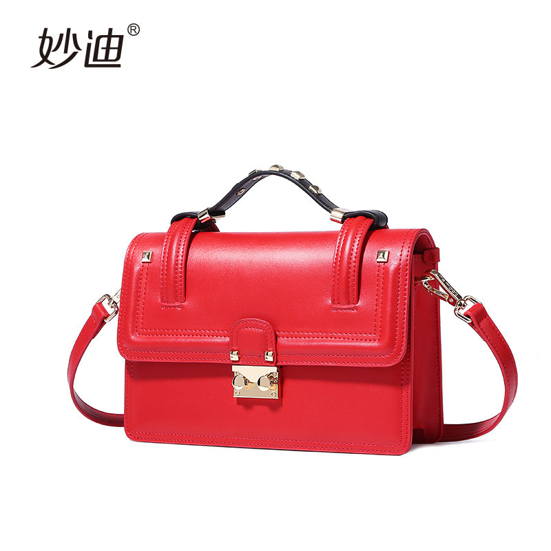A2085 Genuine Leather Women mini Messenger Bags Rivet Crossbody Shoulder Bags Female small Bag Handbags Clutches Bolsa Feminina 2017 fashion all match retro split leather women bag t