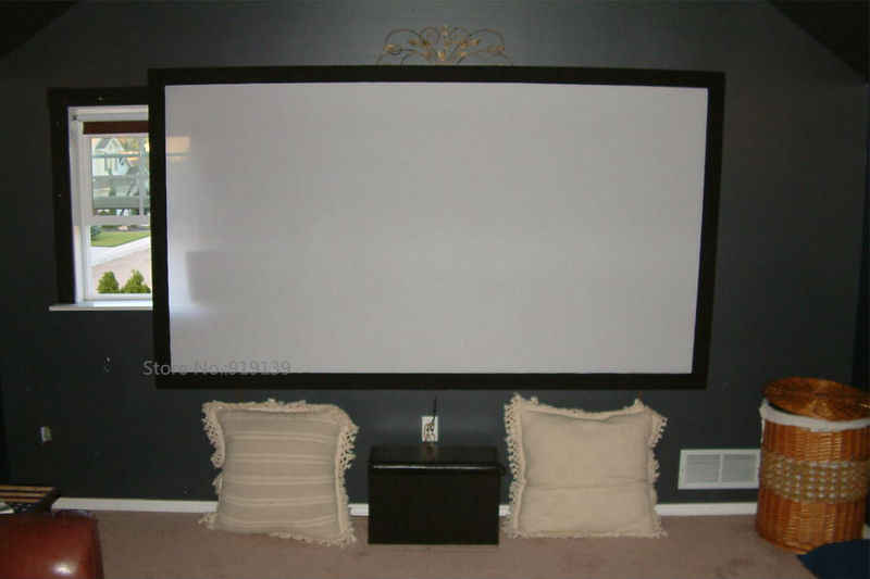 Acoustically Transparent Projection Screen 120inch Curved Fixed Frame 16 9 Diy Wall Mount Projector Screens