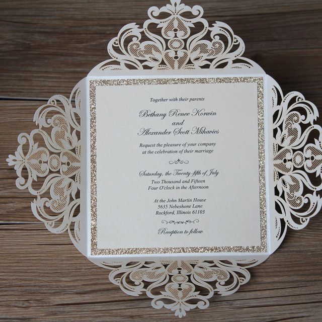26bf4e173cb8 Luxury Laser Cut Wedding Invitations with Customized Wording CW519 Pearl  White Wedding Invitation Cards Elegant - set of 50 pcs