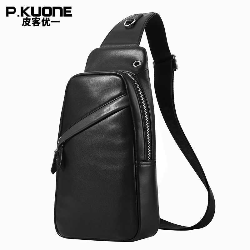 Genuine Leather Men's Crossbody Bag Single Shoulder Chest Sling Pack Bag Leisure Messenger Crossbody Earphone Chest Bag