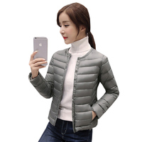 New Women O Neck Light Thin Down Coat Spring Autumn Short Slim White Duck Down Jacket