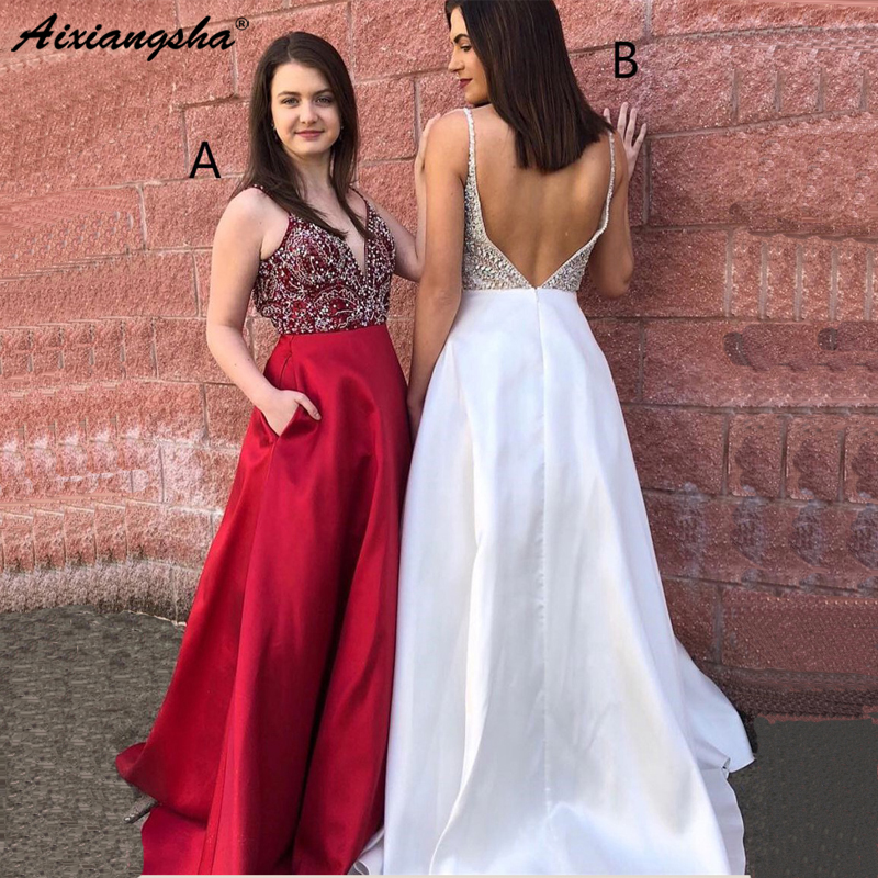 Sparkly White Backless 2019 Long Evening   Dress   Spaghetti Straps A-line V-neck Long Satin Rhinestone   Prom     Dress   robe de soiree