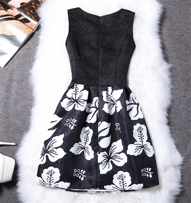 Femme fashion sweet Ball Gown party dress Women,Printed vest sleeveless dress tutu summer style bottoming,summer dress TT818 5