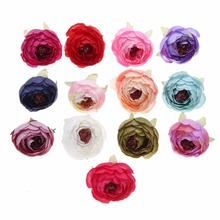 20pcs/lot 4cm Silk Rose Artificial Flowers Ranunculus Bud For Wedding Decor DIY Wreath Baby Headbands Craft Fake Flower