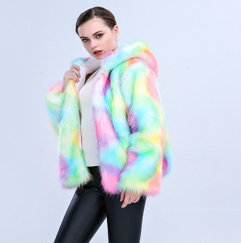 S XXXL Plus Size Long Faux Fur Coat Women Thicken Warm Winter Streetwear Fox Fur Coat Female Fashion Rainbow Cardigan Outerwear in Faux Fur from Women 39 s Clothing