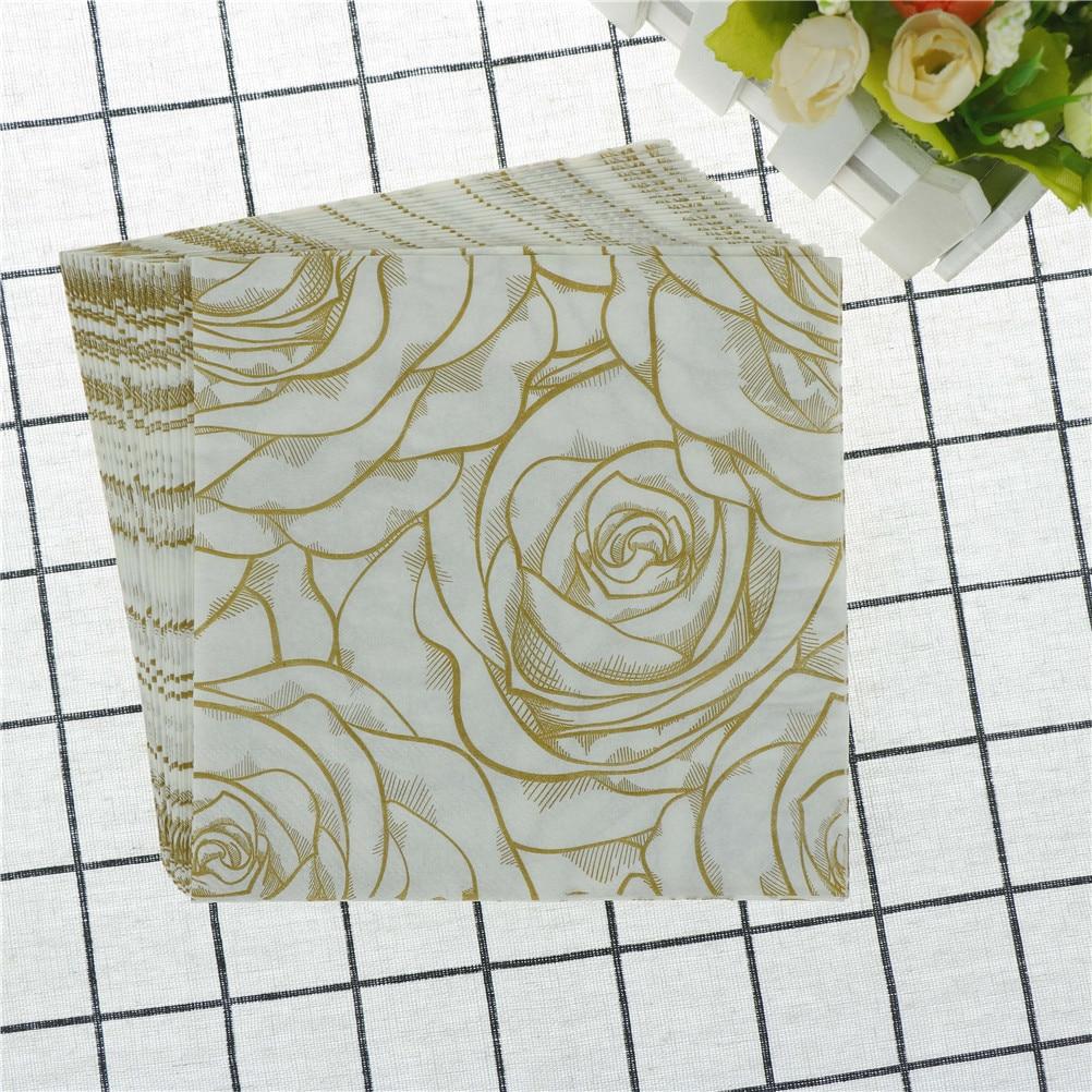 20Pcs/Pack  Disposable Golden Rose Floral Flower Theme Paper Napkins Festive Party Tissue Napkins Decoration Party Tableware
