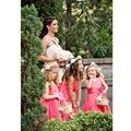 TiaoBug Kids Girls V-Neck Flower Girl Dresses for Children Wedding First Communion Dresses Formal Party Prom Dress 2-14Y