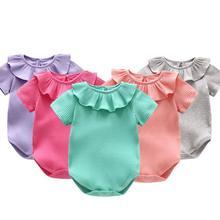 5 шт./лот младенческой комбинезон с коротким рукавом для мальчиков конфеты оборками ползунки модные ползунки детский спортивный костюм 3-24 м Сильвия 546563368843