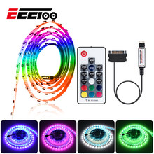 EeeToo SMD 3535 LED Strip RGB 12V SATA LED Strip Flexible Light 120LEDs/m Diode Tape RF Wireless Controller for PC Computer Case(China)