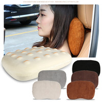 Comfortable Car Seat Neck Protect Pillow Soft Suede Memory Cotton Headrest for BMW Mini Cooper Benz Audi Toyota Honda Suzuki