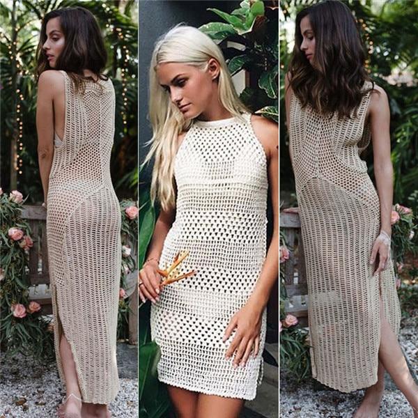 Sexy Women Summer Beach Dress Sarong Cover Up White Lace Bikini Cover-Ups Crochet Swimwear Bathing Suit
