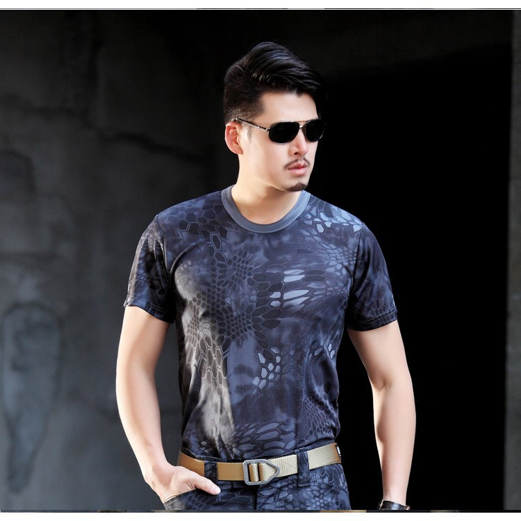 Camouflage Hiking T Shirt Creative Hydrophobic Stainproof Breathable Antifouling Quick Dry Top Short Sleeve T Shirt Men Wrench