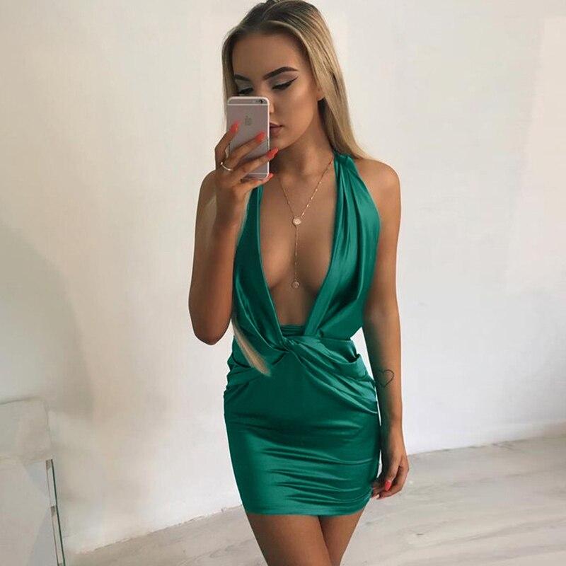 Halter Backless Bandage Mini Dress