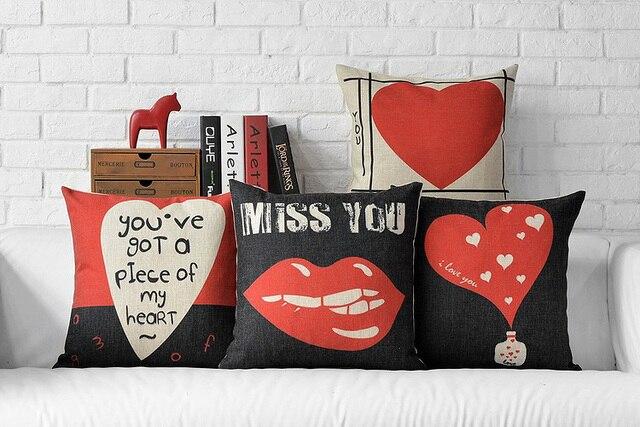 Moderne Rot Und Schwarz Vintage Kissenbezug Liebe Sprüche Kissen Herz  Kissen Valentinstag Liebe Sie Couch Sitzkissen