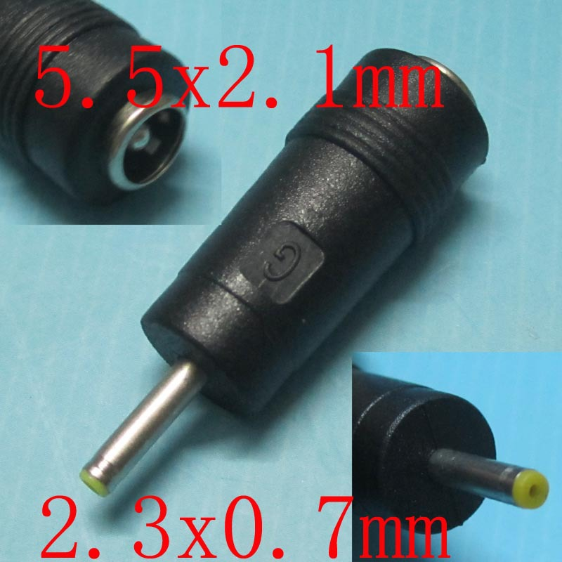 NEW DC Power Jack for netbook Tablet PC female 5.5x2.1 to turn male 2.3x0.7 DC Power Plug Converter Free Shipping