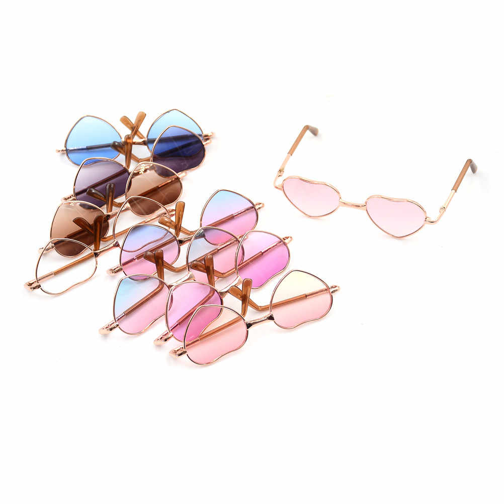 1Pcs Doll Accessories Heart-Shaped Glasses 10cm Colorful Glasses Sunglasses Suitable For BJD Blyth As For 18Inch  Dolls