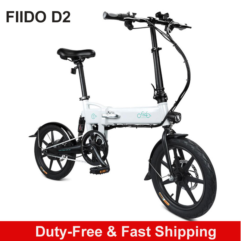 Poland stock FIIDO D2 Electric Bicycle Smart Folding Bike Electric Moped Pedal 7.8Ah Battery Double Brakes LED Front Light