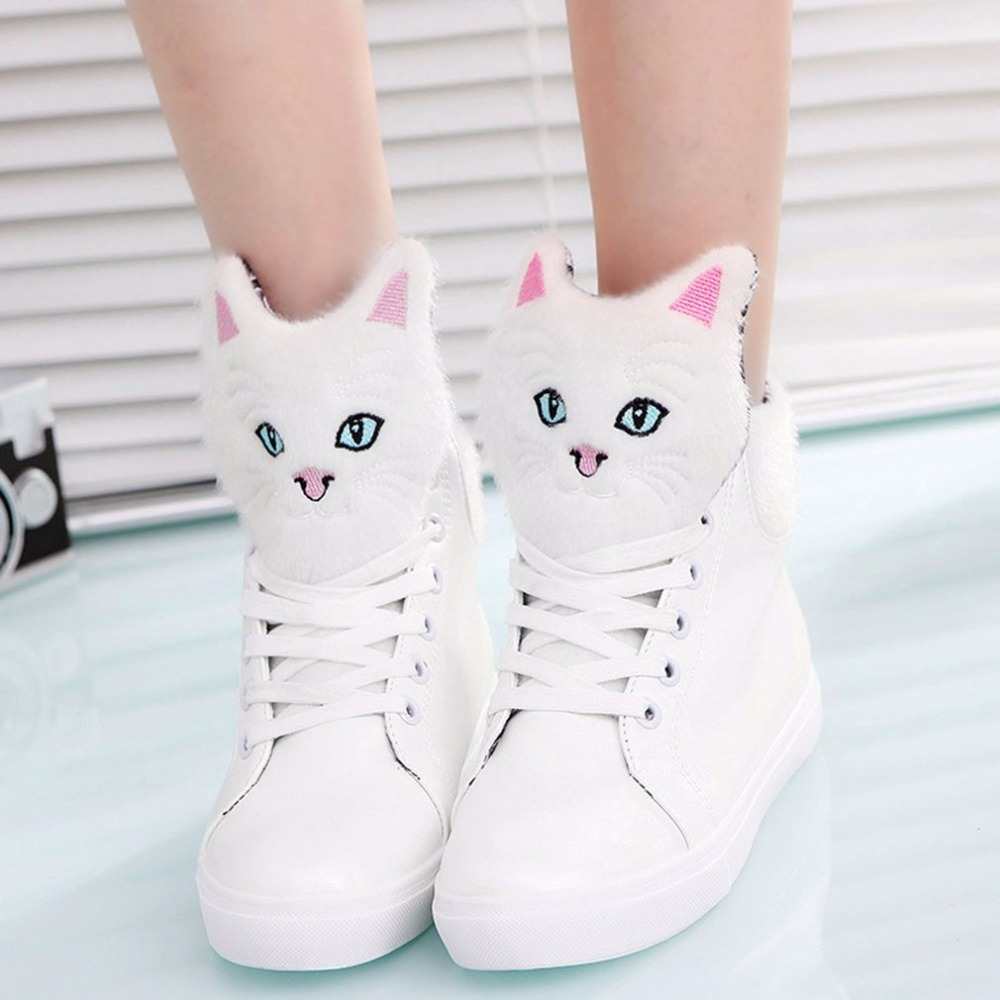 Female Casual Shoes With Cute Cartoon Cat Ankle Shoes Warm Comfort Women Front Lace-up Casual Shoes For Girl Teenager Hot Sale hot sale cute mouldproof cartoon meow cat pattern pillow case