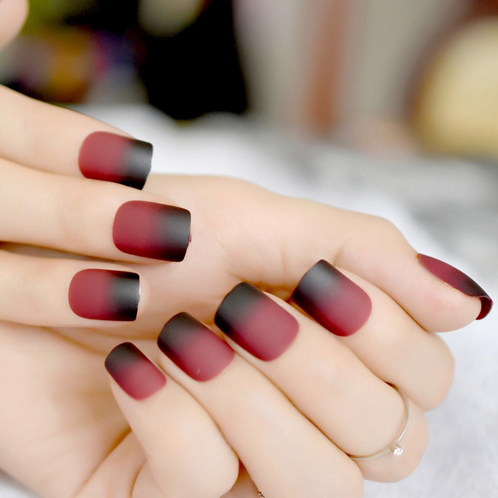 Gradient Frosted Fake Nail Artificial Nails Black Red Wine Matte ...
