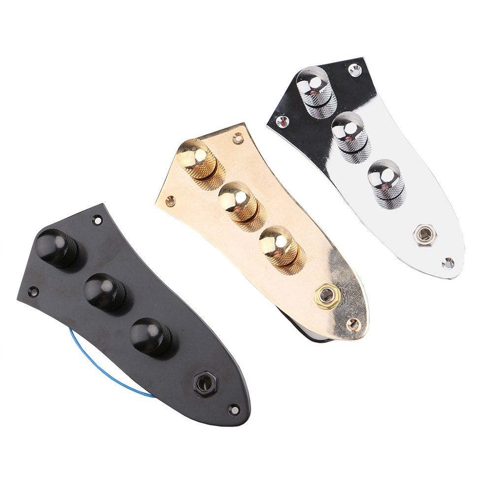 1Pc Jazz Bass JB Switch Control Plate Assembly Knobs Pots Metal Plated Guitar Parts Accessories