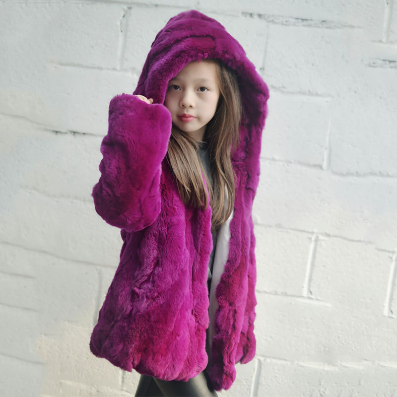 Kids Fur Coat 100% Real Rabbit Fur Jacket Children Girls Hooded Rex Rabbit Fur Coat Jacket Clothing Fur Outerwear children army coat real rabbit fur clothing winter rabbit long parkas hooded coat kids warm thick outerwear black jacket d 1