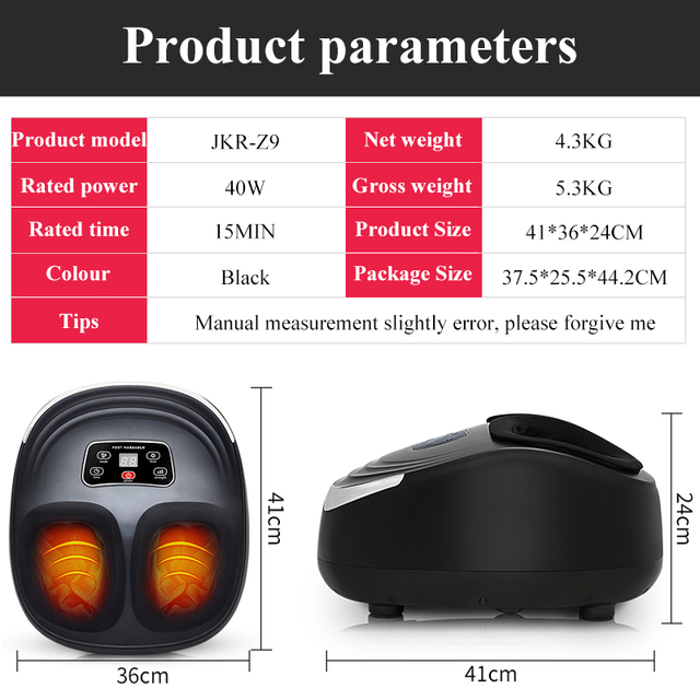EU Plug Electric Antistress Foot Massager Vibrator Massage Machine Infrared Heating Therapy Health Care Device 5