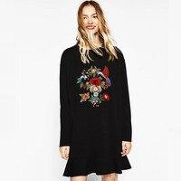Dioufond Embroidery Bird Black Women Shirt Tops Fold Elegant Long Sleeve Shirt Fish Tail Lady Cloth