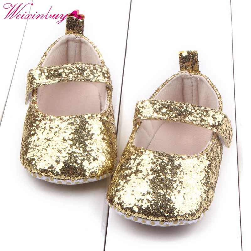 Baby Girl First Walkers Toddler Baby Girls PU Leather Sequin Infant Kids Soft Sole Shoes Bottom Bebe Shoes