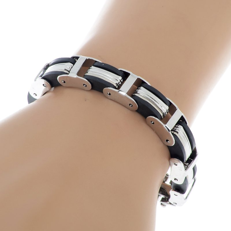 16pcs lot Mix style Silver Chain Link Wristband Bangle Cuff Men Stainless Steel Bracelet Rubber men