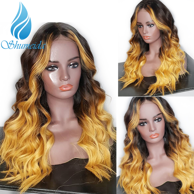 SHD Brazilian Body Wave 3 Tones Color Lace Front Wigs with Baby Hair Ombre Blonde Remy