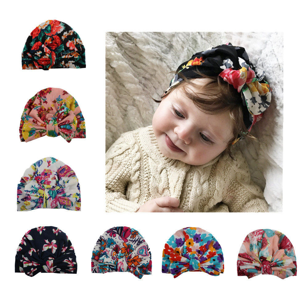 1 Pcs Newborn baby hat Girls Flower Bowknot Beanies Hats Comfortably Hospital Caps 2017 Hot Sale