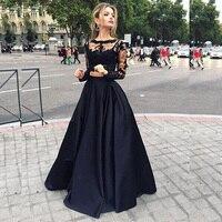de32d83a080 Пикантные черные сапоги кружева с длинным рукавом атласные платья Двойка Длинные  вечерние платья длиной до пола