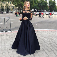 Sexy Black Lace Long Sleeve Satin Prom Gowns Two Pieces Long Evening Gowns Floor Length Fashion Party Dress Custom Made