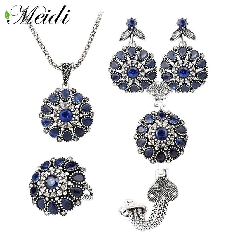 MEIDI Vintage Wedding Gift Jewelry Noble Atmosphere Water Drop Shape Crystal Earrings Necklace Rings Set Women Jewelry Sets